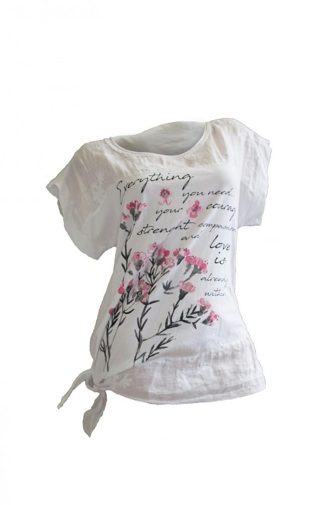 2604e55d8d Oldalt kötős virág mintás póló (#7) - Olivashop ruha webáruház, Női ...