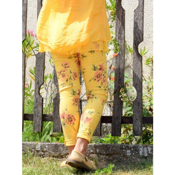 Virágos sztreccs nadrág megkötős derékkal (#24)
