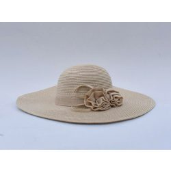 Len virággal díszített széles karimájú kalap (#3)
